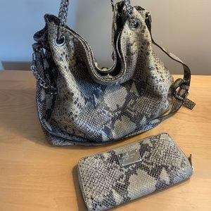 Michael Korda snake skin bag and wallet